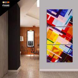 Quadro Decorativo Abstrato Moderno Colorido 120x60 Grande para Hall de Entrada