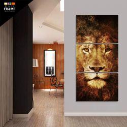 Quadro Decorativo Leão Moderno Em Chamas Vertical 120x60 para Hall de Entrada