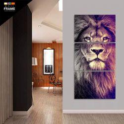 Quadro Decorativo Leão Mosaico 3 Peças 120x60 Em Tecido para Hall de Entrada