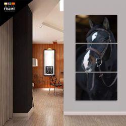 Quadro Cavalo Preto Decorativo Para Sala Quarto Hall 120x60 para Hall de Entrada