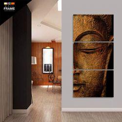 Quadro Buda Para Sala Quarto Hall 120x60 Mosaico 3 Peças para Hall de Entrada