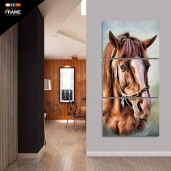 Quadro Decorativo Cavalo Artístico Mosaico 3 Peças 120x60 para Hall de Entrada