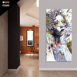 Quadro Decorativo Mulher Abstrato Mosaico 3 Peças Em Tecido para Hall de Entrada