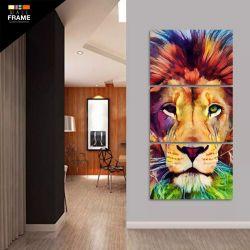 Quadro Decorativo Leão Moderno Artístico Colorido 3 Peças para Hall de Entrada