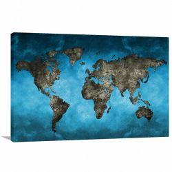 Quadro decorativo Mapa Mundi Moderno - - Tela em Tecido