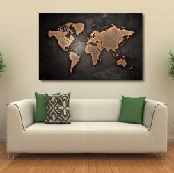 Quadro decorativo Mapa Mundi Tela em Tecido