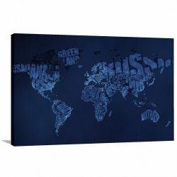 Quadro decorativo Mapa Mundi Blue - Tela em Tecido