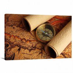 Quadro decorativo Mapas Vintage Retrô - Tela em Tecido