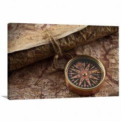 Quadro decorativo Mapas - Bússola - Tela em Tecido