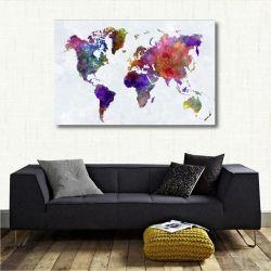 Quadro decorativo Mapa Mundi - Colorido - Tela em Tecido