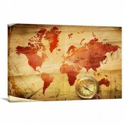 Quadro decorativo Mapa Mundi Vintage - Tela em Tecido