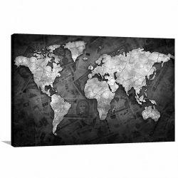 Quadro decorativo Mapa Mundi Black - Money - Tela em Tecido