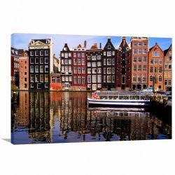 Quadro Decorativo Cidade Amsterdã - Tela em Tecido