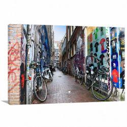 Quadro Decorativo Ruas de Amsterdã - Cidades -Tela em Tecido