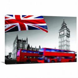 Quadro Decorativo Vintage Londres - Tela em Tecido