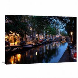 Quadro Decorativo Cidade de Amsterdã - Tela em Tecido