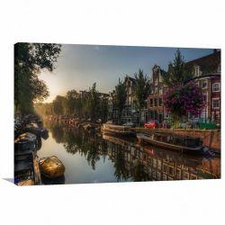 Quadro Decorativo Amsterdã - Paisagem Romântica - Tela em Tecido