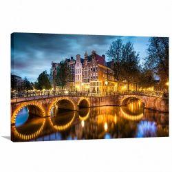 Quadro Decorativo Cidade de Amsterdã - Paisagem - Tela em Tecido
