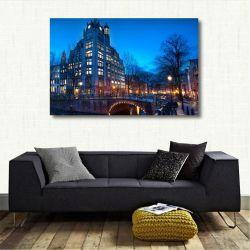 Quadro Decorativa Cidade Amsterdã Paisagem - Tela em Tecido