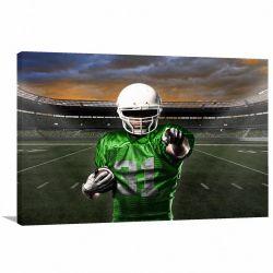 Quadro decorativo de Futebol Americano com Tela em Tecido