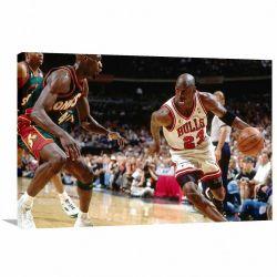 Quadro decorativo Michael Jordan Jogando - Tela em Tecido