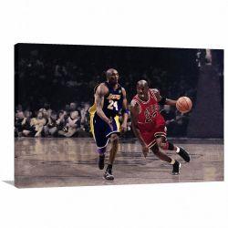 Quadro Michael Jordan Jogando decorativo com Tela em Tecido