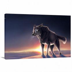 Quadro decorativo Paisagem - Lobo - Artístico - Tela em Tecido