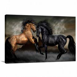 Quadro de Cavalo Preto e Marrom Sala Quarto Escritório