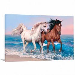 Quadro decorativo Cavalos Branco e Marrom Arte