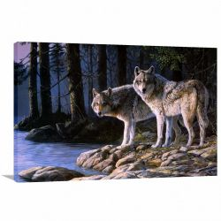 Quadro decorativo Lobos Paisagem - Artístico - Tela em Tecido