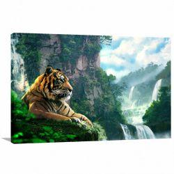 Quadro decorativo Tigre Natureza Paisagem com Tela em Tecido