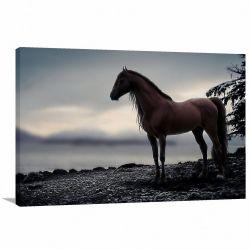 Quadro Cavalo Marrom Paisagem Escura decorativo