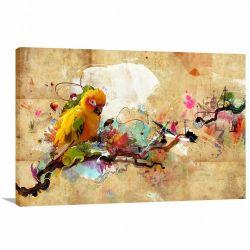 Quadro Pássaro Paisagem Artístico decorativo com Tela em Tecido