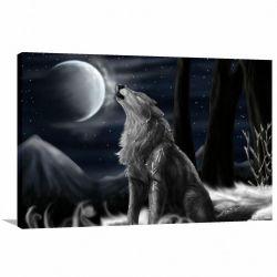 Quadro Lobo Uivando Paisagem decorativo com Tela em Tecido
