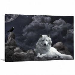 Quadro Lobo Paisagem Animais decorativo Tela em Tecido