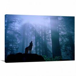 Quadro Lobo Uivando Paisagem decorativo Tela em Tecido