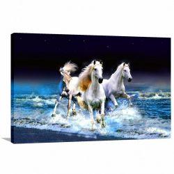 Quadro Cavalos Brancos na Água decorativo