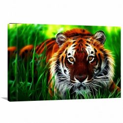 Quadro decorativo Tigre Paisagem Animais com Tela em Tecido