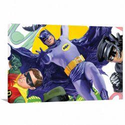 Quadro decorativo Batman e Robin Retro com Tela em Tecido