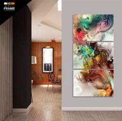 Quadro Abstrato Colorido Mosaico 3 Peças Decorativo para Hall de Entrada