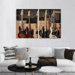 Quadro Decorativo Guitarras e Baixos 2 peças 90x60 cm