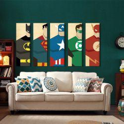 Quadro Decorativo Moderno  Liga Da Justiça 5 Peças 150 X 65cm Tecido