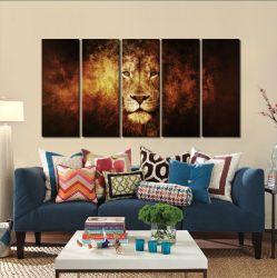 Quadro Decorativo Leão em Chamas  140x65 em tecido
