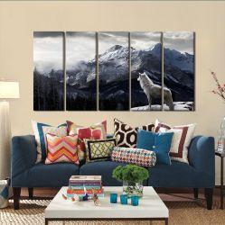 Quadro Decorativo Lobo e Montanha 140x65 em tecido