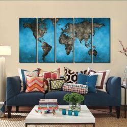 Quadro Decorativo Mapa  Mundi Blue 140x65 em tecido
