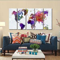 Quadro Decorativo Mapa  Mundi Color 140x65 em tecid