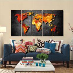 Quadro Decorativo Mapa Moderno 140x65 em tecido