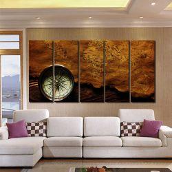 Quadro Decorativo Mapa Mundi Retro 140x65 em tecido 1