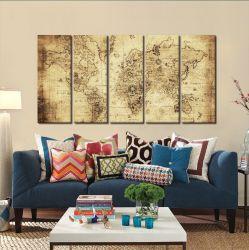 Quadro Decorativo Mapa Mundi Retro 140x65 em tecido