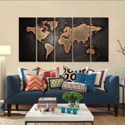 Quadro Decorativo Mapa Mundi Retro 140x65 em tecido 2